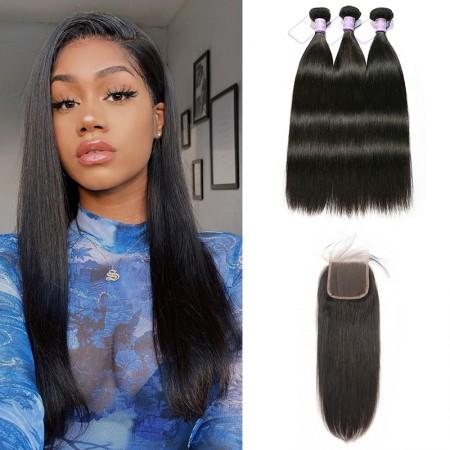 Brazilian human hair bundles with Closure