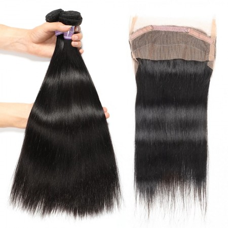 2 Bundles Straight  Hair With Lace Frontal