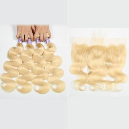 Malaysian Body Wave 4Pcs 613 Hair Bundles With Frontal