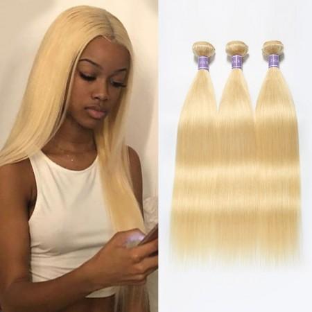 Straight Blonde Hair 3 Bundles 613 Human Hair Weave Malaysian Hair