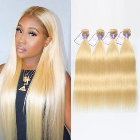 613 Blonde Virgin Hair 4 Bundles Malaysian Straight Hair