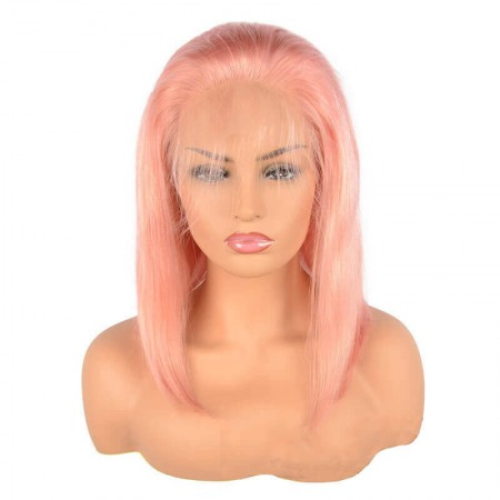 Pre Plucked Human Hair Lace Front Short Bob Wigs