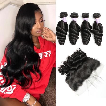 Brazilian Loose Wave Hair 4 Bundles Deals With Lace