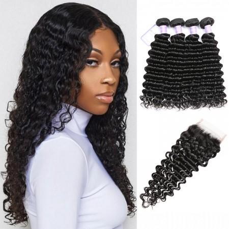 Peruvian hair 4bundles with closure