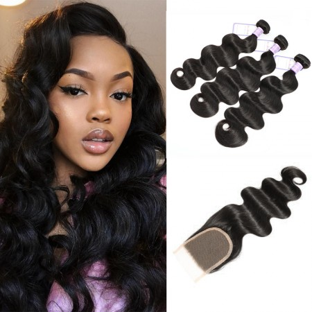 DSoar Hair 3 Bundles Brazilian Body Wave With Lace Closure