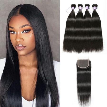 DSoar Hair 4pcs Brazilian Straight Virgin Hair With Lace Closure