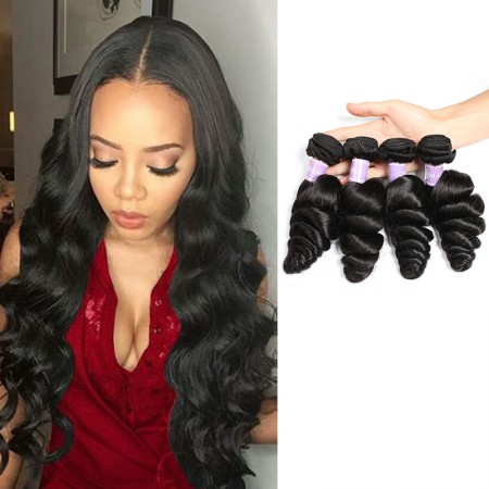 Loose Wave 4 Bundles Virgin Human Hair Natural Black