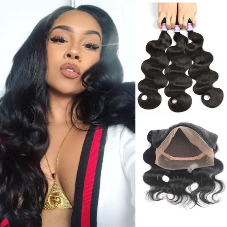 Malaysian Body Wave Hair 360 Lace Frontal With 3 Bundles Sew In