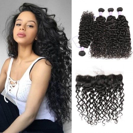 Natural Wave 4 bundles with Lace Frontal