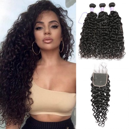 virgin Indian natural wave hair 3 bundles with closure