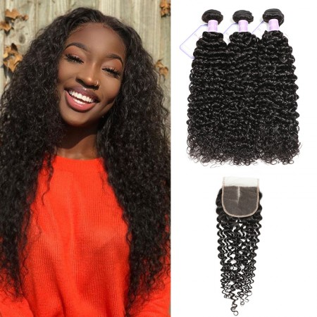 DSoar Hair 3 Bundles Virgin Jerry Curly Human Hair With Lace