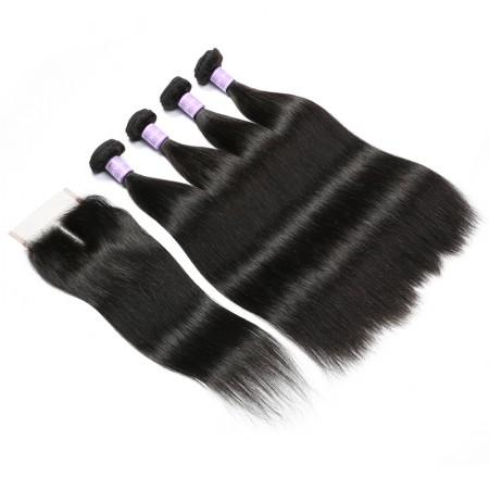 remy hair 4 bundle deals with closure