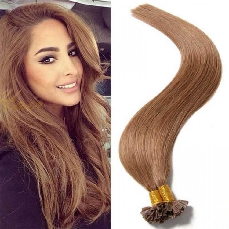 Peruvian Virgin Human Keratin U Tip Hair Extensions Straight Nail