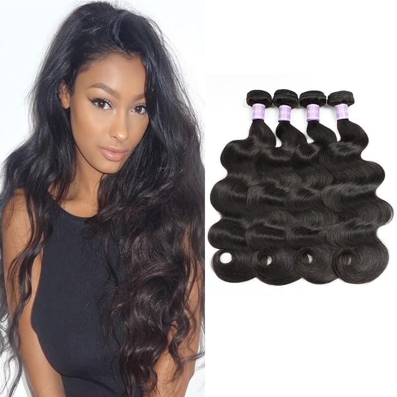 New Peruvian Body Wave 4 Bundles Virgin Human Hair Fast Shipping