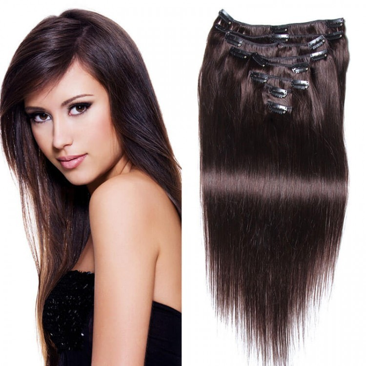 100g Brazilian Straight Hair Remy Clip In Human Hair Long Extensions