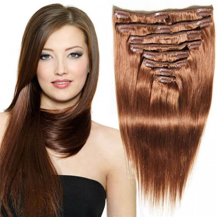 80g Human Hair Extensions Clips Straight Natural Hair Extensions