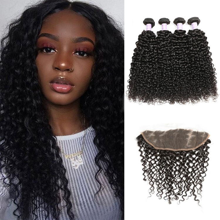 4 Bundles Malaysian Curly Hair With Lace Closure #27 Honey Blonde Bundles With Closure 100% Human Hair Extensions Double Weft Durable Service Hair Extensions & Wigs 3/4 Bundles With Closure