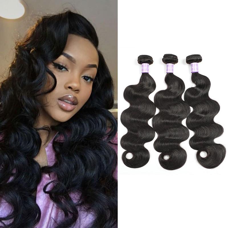 Dsoar 3 Bundles Indian Virgin Hair Body Wave Weave