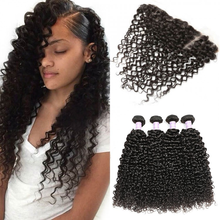 Dsoar Hair Peruvian Curly Hair Lace Frontal Closure With 4 Bundles Sew In Weave