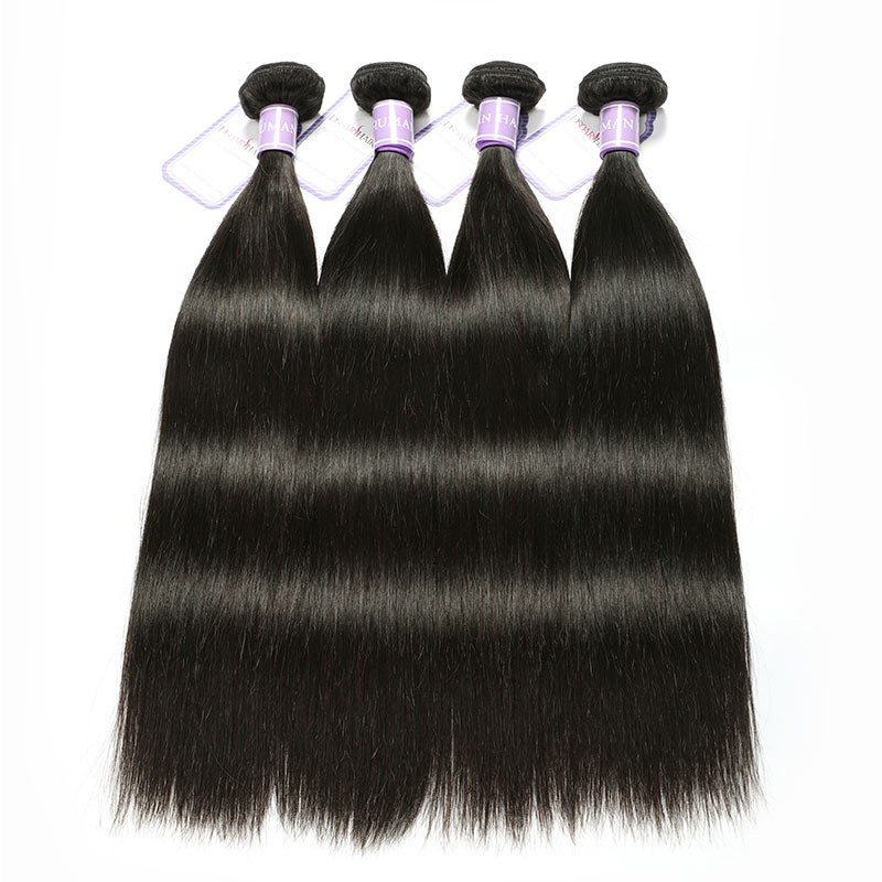 Long Straight Hair Bundle Deals with Lace Closure Soft Human Hair ... 0c93f3bbf36e