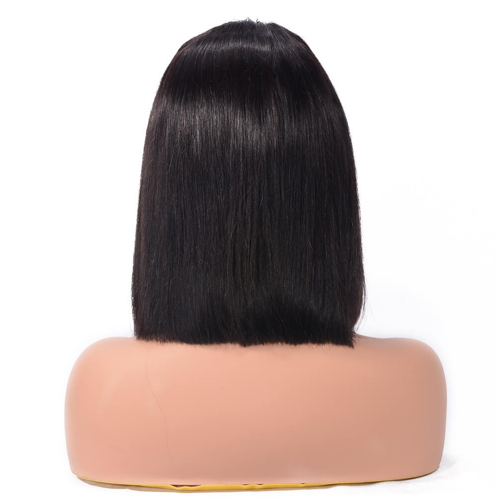 Blunt Cut Weave Cap: DSoar Human Hair Straight Blunt Cut Lace Front Bob Wigs