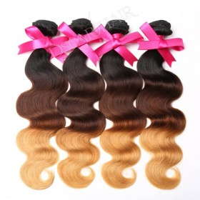 DSoar Human Virgin Hair 4pcs/pack Three Tone Ombre Body Wave Hair T1B/4/27