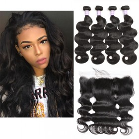 DSoar Hair 4 Bundles Body Wave Hair Weave With 4x13 Lace Frontal Closure Free Part