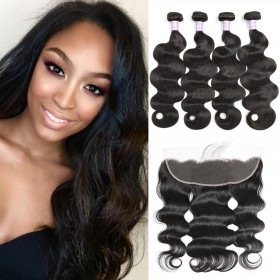 "DSoar Hair 4 Bundles Brazilian Body Wave 8""-30"" Hair Weave With 4x13 Lace Frontal Closure"