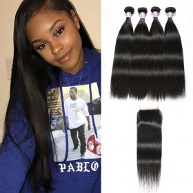 Best DSoar Hair 4 Bundles Straight Virgin Hair With Lace Closure