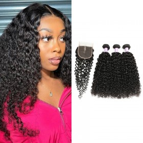 DSoar Hair 3 Bundles Peruvian Jerry Curly Human Hair With Lace Closure