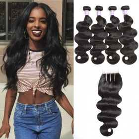 DSoar Hair Body Wave Lace Closure With 4pcs Remy Hair Bundles