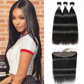 DSoar Hair Brazilian 3 Bundles Weave With 4X13 Closure Straight 100% Human Hair