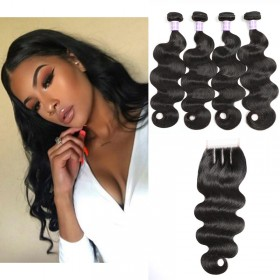 DSoar Hair Malaysian Body Wave 4 Bundles With Closure
