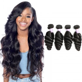 DSoar Hair Malaysian Loose Wave Virgin Human Hair Natural Black Color 4 Bundles