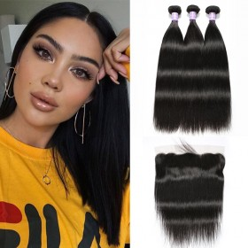 DSoar Hair Malaysian Straight Hair Weave 3 Bundles With 4X13 Closure Natural Black