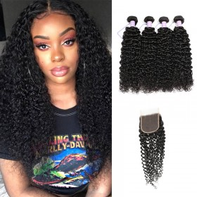 DSoar Hair 4 Bundles Brazilian Virgin Jerry Curly Hair With Lace Closure