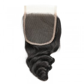 "DSoar Hair Loose Wave Lace Closure 4"" x 4"" Human Hair Natural Black 1 Piece"