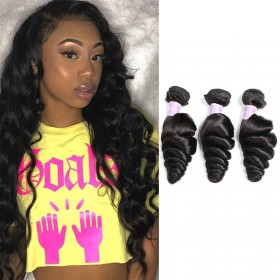 "DSoar Hair 16""-26"" Loose Wave Natural Black Human Hair Weft 3 bundles Hair Weft"