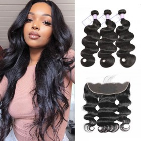 DSoar Hair Unprocessed Brazilian Hair Body Wave 3 Bundles  Hair Weave With 413 Lace Frontal