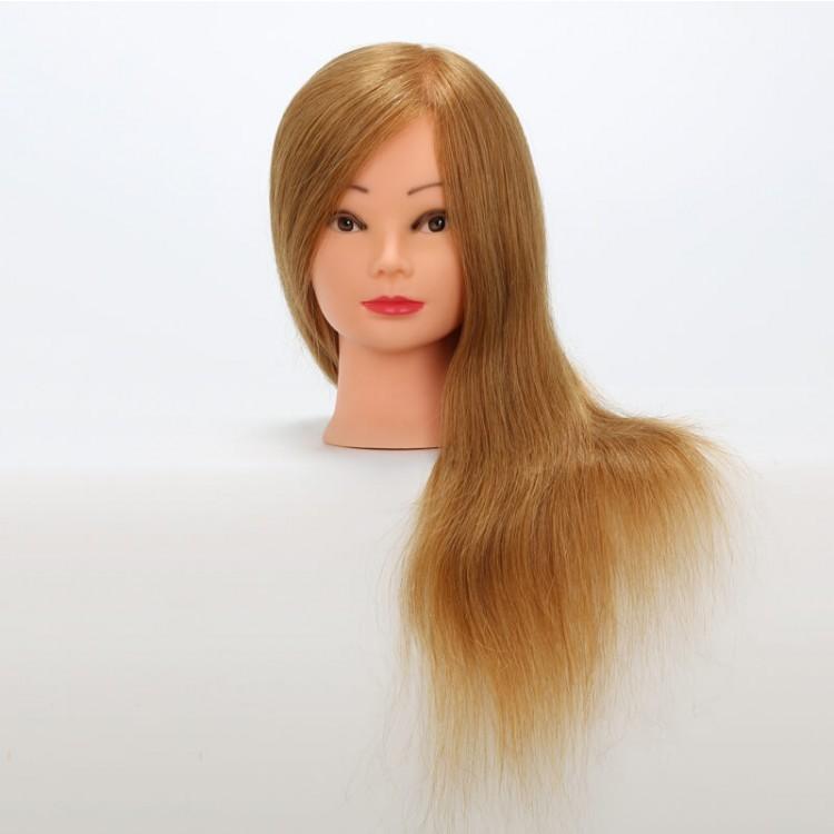100% Real Human Hair Golden 18'' Training Head Hairdressing Salon Practice Model