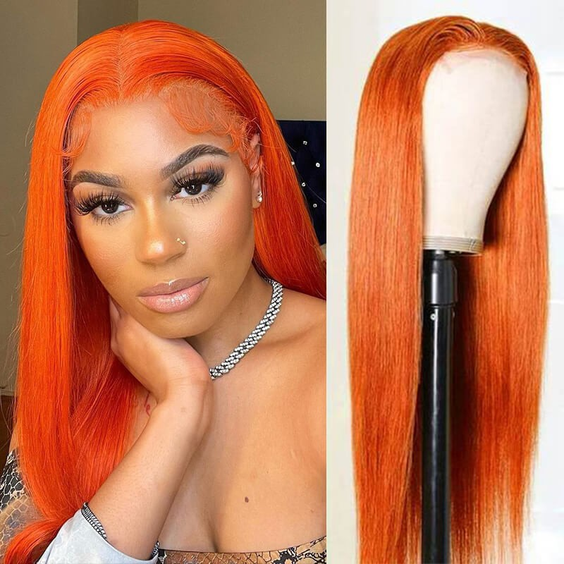 Dsoar Hair Orange Ginger Straight Hair 13X4 Lace Front Wigs Human Hair Wigs Pre Plucked With Baby Hair For Women