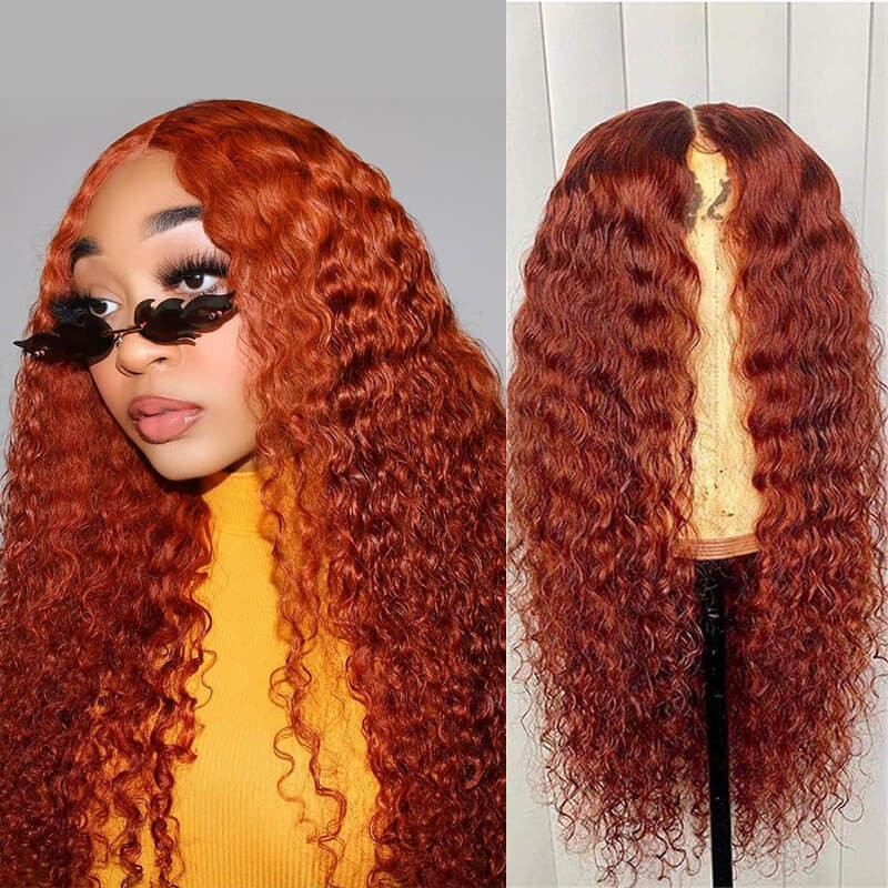 Dsoar Hair Orange Ginger Color 13x4 Curly Hair Lace Front Wigs Human Hair Wigs Pre Plucked Natural Hairline
