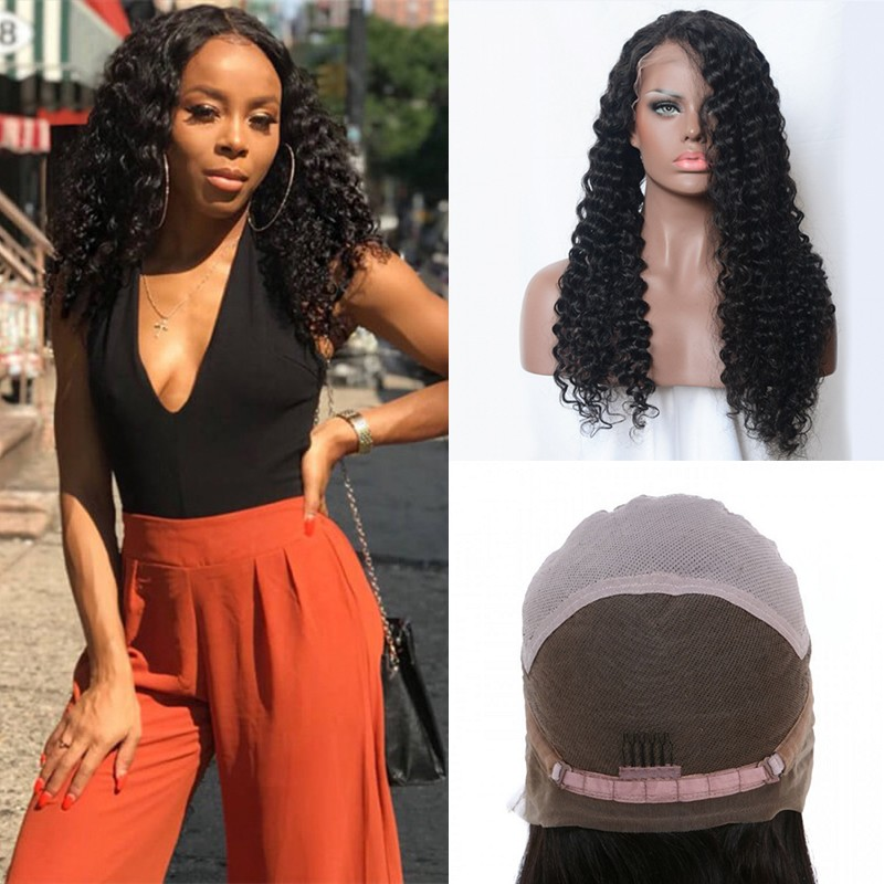 DSoar Hair Long Jerry Curly Lace Front  Human Hair Wig