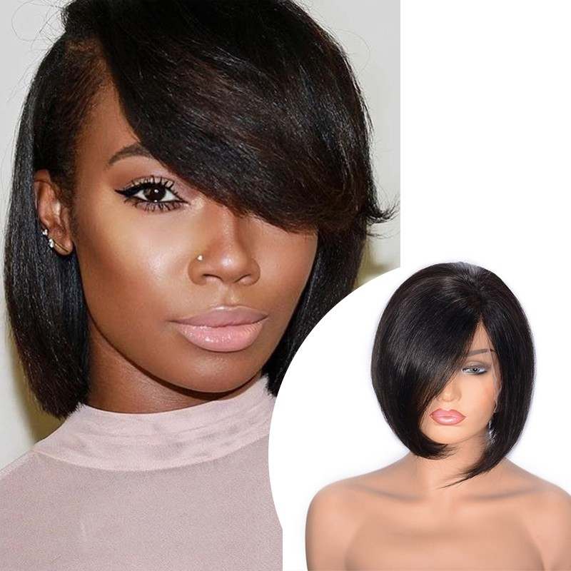 DSoar Hair Short Bob With Bangs Human Hair Lace Front Wigs