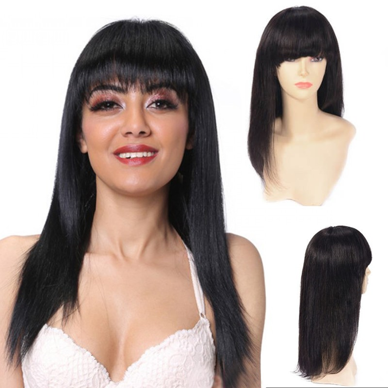 Long Straight Lace Front Wig With Bangs