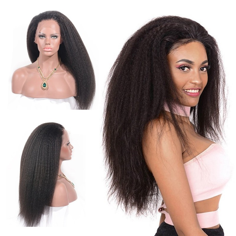 DSoar Hair Light Yaki Straight Human Hair Black Lace Transparent Front Wigs