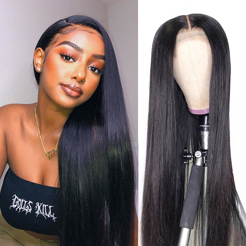 Dsoarhair Straight Human Hair 4x4 Lace Closure Wig With Natural Hairline Hand Tied Lace Closure Wigs