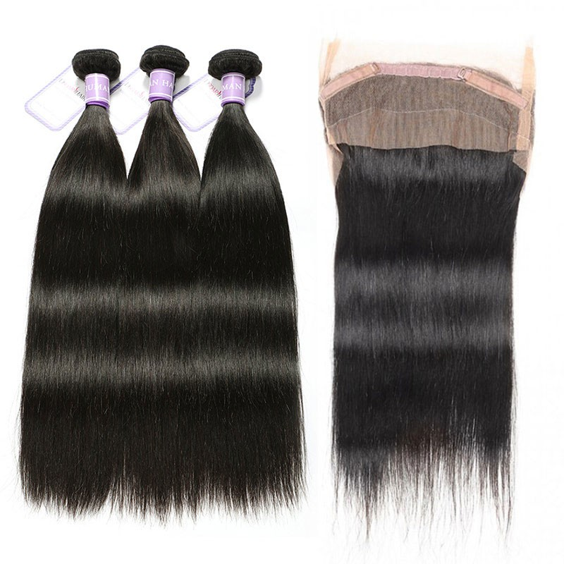 Malaysian Straight 3 Bundles and 360 Lace Frontal