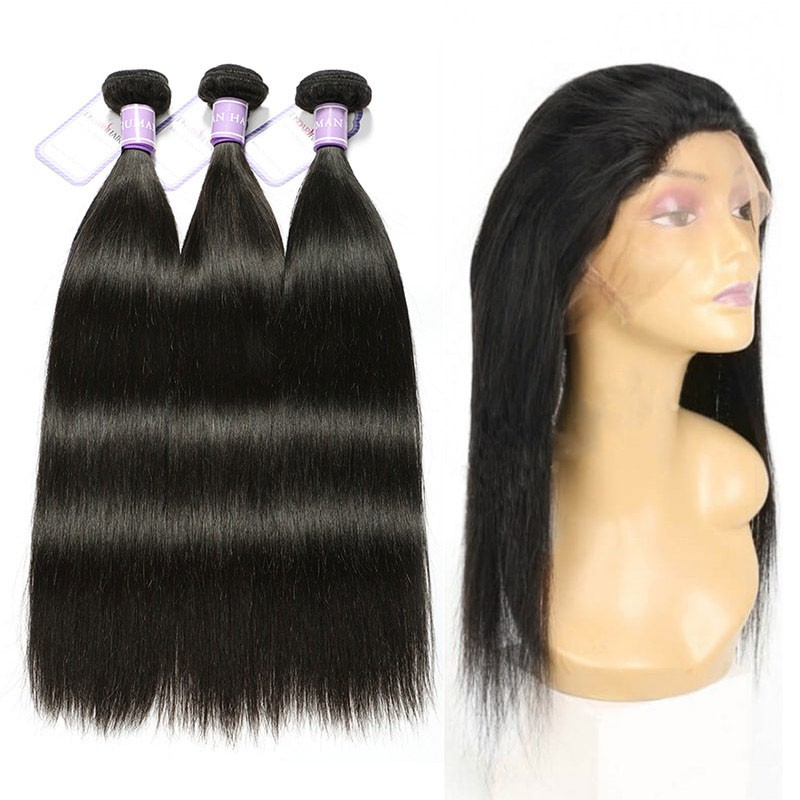 Peruvian 3 Bundles Straight Human Hair With 360 Lace Frontal