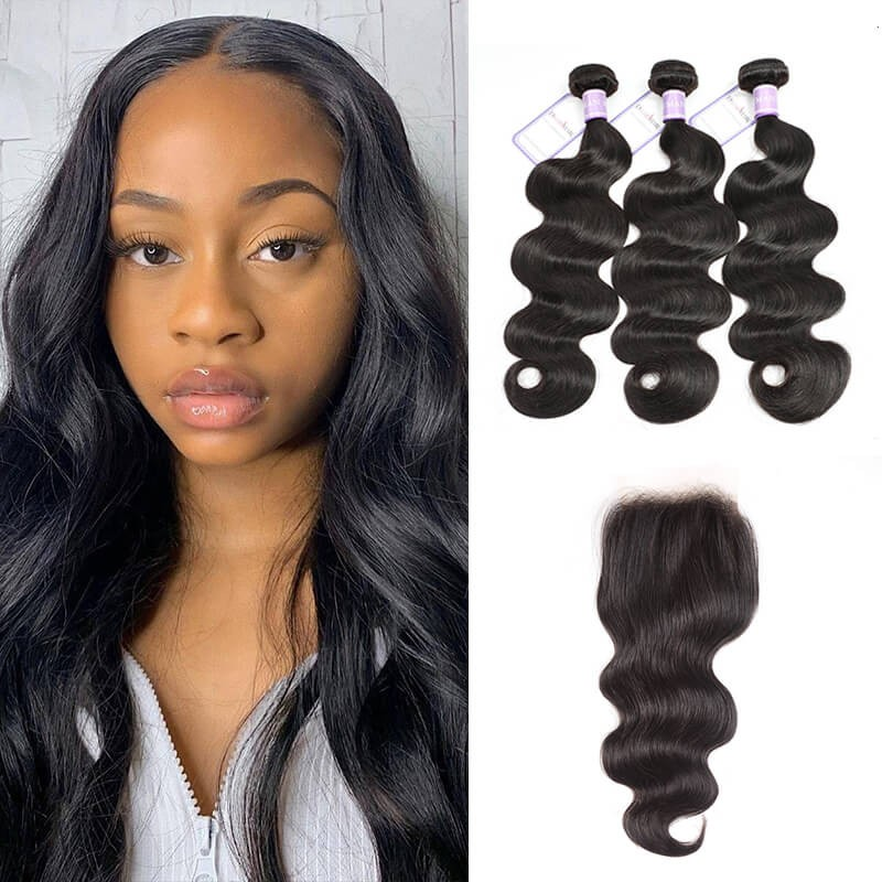 3 bundles with 4x4 transparent lace closure